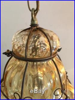 Vintage Italian Murano Blown Cage Optic Art Glass Chandelier Ceiling Light Lamp