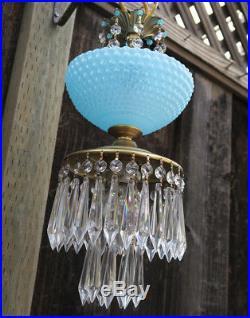 Vintage Lamp chandelier MURANO Venetian Blue Opaline Art Bubble Glass brass