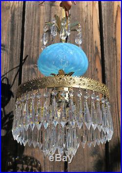 Vintage Lamp chandelier MURANO Venetian Turquoise Opaline Art Glass brass 1of3