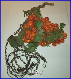 Vintage Lucite Orange Glass Grape Cluster ART Deco Hanging Retro Lamp