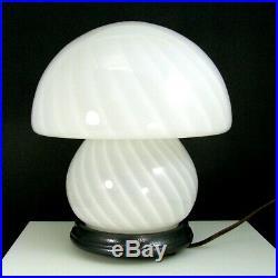 Vintage MCM Murano Swirl Mushroom Glass Lamp Italian Art Glass Wood Base 10 1/2