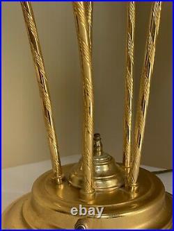Vintage MURANO Italian Brass Art Glass Calla Lily Table Lamp 31 Italy