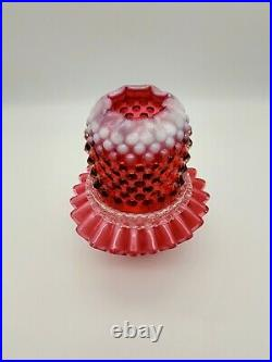 Vintage Marked Fenton 3 Pc. Bright Cranberry Opalescent Hobnail 7 Fairy Lamp