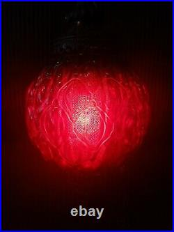 Vintage Mid Century Red Optic Art Glass Ball Shade Hanging Swag Lamp Light