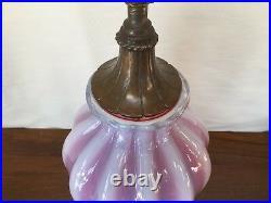 Vintage Mid-Century Venetian MURANO RED & WHITE Glass Table Lamp