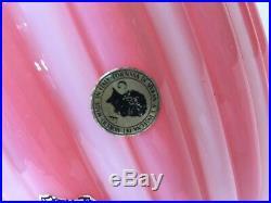Vintage Murano Galliano Ferro Art Glass Table Lamp Opaline Pink Vase, 12 Tall