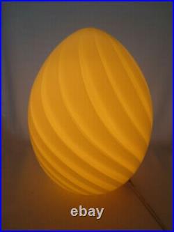 Vintage Murano Italian Glass Swirl Egg Lamp Venini Mid Century Modern Regency