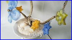 Vintage Murano Style Glass Flower Lamp