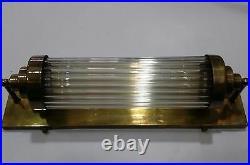 Vintage Old Antique Art Deco Brass & Glass Rod Light Fixture Wall Sconces Lamp