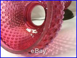 Vintage Pair of Fenton Hobnail Cranberry Opalescent Glass Brass Table Lamps