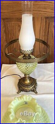 Vintage Rare Fenton Art Glass Topaz Yellow Opalescent Hobnail Lamp B9
