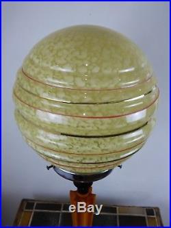 Vintage Retro Art Deco Lamp Glass Globe Shade Chrome Amber Phenolic PAT Tested