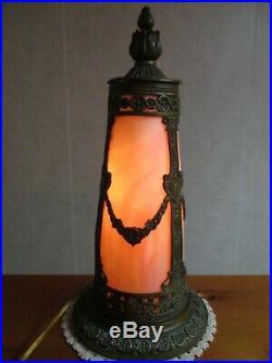 Vintage Slag Glass Small Table Lamp Antique Caramel Color Art Nouveau