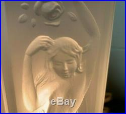 Vintage Tiffin Art Deco Satin or Frosted Glass 4 Sided Figural Nude Boudoir Lamp