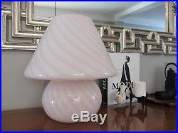 Vintage Vetri Murano Italian Art Glass Pink White Swirl Mushroom Table Lamp 15