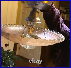 Vintage antique Glass Ceiling Light Lamp Fixture Chandelier art deco