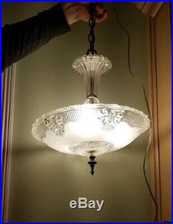 Vtg ANTIQUE 1940's ART DECO GLASS CEILING CHANDELIER LAMP LIGHT FIXTURE -1219