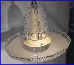 Vtg Antique Glass Chandelier Art Deco Lamp Light Ceiling Fixture Bowl Shade