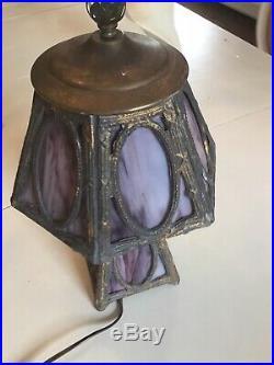 Vtg Antique Purple Slag Glass Mission Arts Crafts Style Lamp Metal old