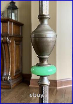 Vtg Art Deco Jadeite/Jadite Green Glass Floor/Bridge Lamp, Bird & Floral Motif