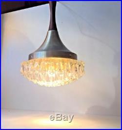 Vtg Danish mid century Rosewood Art glass pendant lamp Fagerlund Hammerborg era