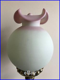 Vtg Fenton Burmese Pillar Banquet Lamp