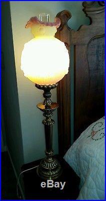 Vtg Fenton Yellow & Peach Burmese Embossed Rose GWTW Pillar Banquet Lamp 1970's