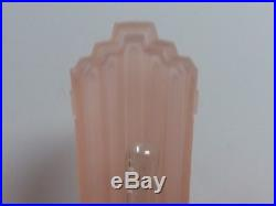 Vtg Frankart Polished alum Art deco Lamp withNymphs Sarsaparilla Pink Glass Shade