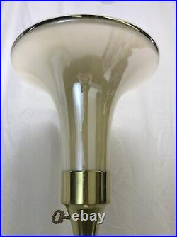 Vtg Glass Torchiere Floor Lamp Art Deco Mid Century Modern Gold Brass Stiffel