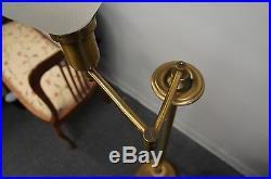 Vtg Heavy Brass Swing Arm Swivel Floor Lamp Milk Glass Shade Art Deco Read Light