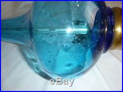 Vtg Mid Century Aqua Blue Art Glass Genie Bottle Shaped Lamp Controlled Bubbles