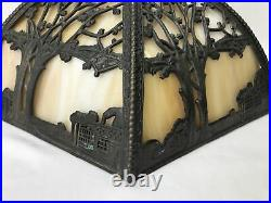 Vtg Stained Glass Lamp Shade Arts & Crafts Deco Mission Tiffany Style 17 6panel