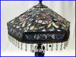 Vtg Stained Slag Glass Lamp Shade Arts & Crafts Deco Victorian Bead Fringe 15