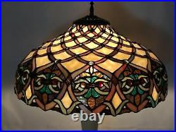 Vtg Stained Slag Glass Lamp Shade Arts & Crafts Mission Deco Tiffany Style 16