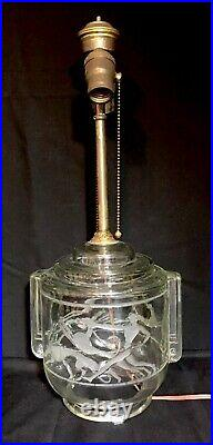 Wilhelm Hunt Diederich 1920s Art Deco Glass Lamp Nude Male Gray Hound Gazelle