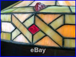 Wilkinson Arts & Crafts Leaded Stained Glass Lamp, Patinated Bronze Base