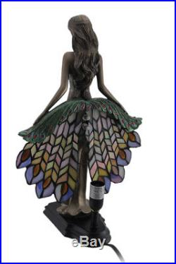 Zeckos Art Nouveau Style Woman In Peacock Dress Stained Glass Accent Lamp